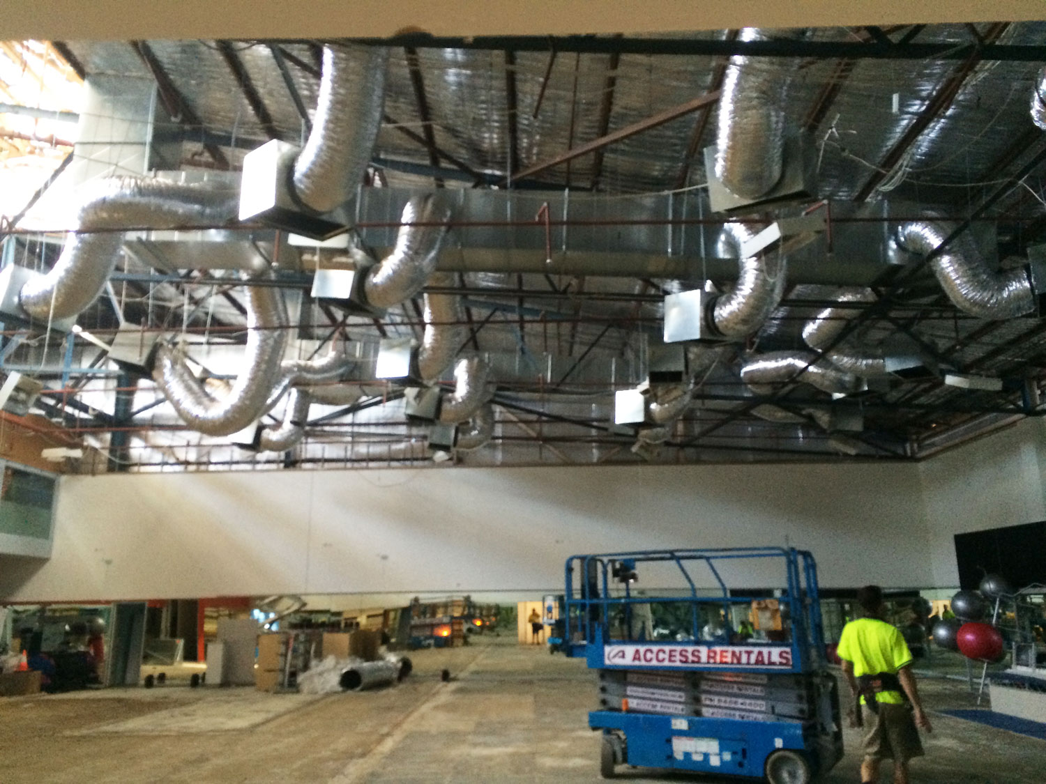 huge shed with industrial air conditioning set up in the roof